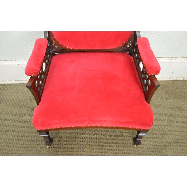 Antique 19th Century Aesthetic Mahogany Arm Chair (possibly Herter Brothers) - Image 7 of 11