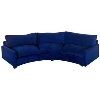 Vintage Milo Baughman Sofa in Navy Velvet