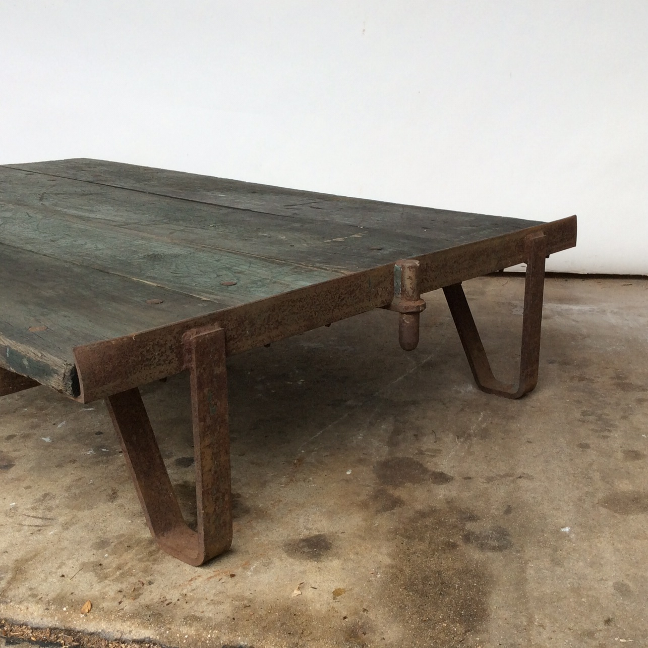 vintage railroad cart coffee table | chairish