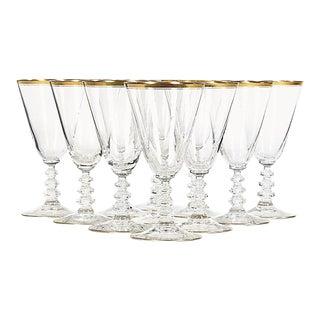 Art Deco Gilt-Banded Wine Stems - Set of 11