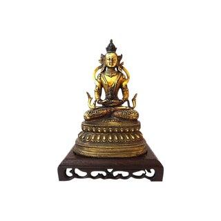 Nepalese Bronze Buddha w/ Stand