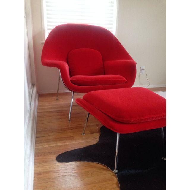 Image of Saarinen Vintage Red Womb Chair & Ottoman