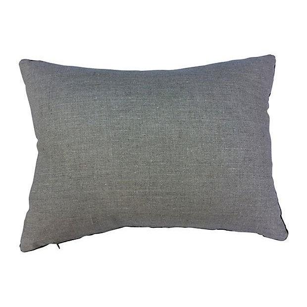 Image of Antique Velvet Floral Textile Pillow W/ Parrot