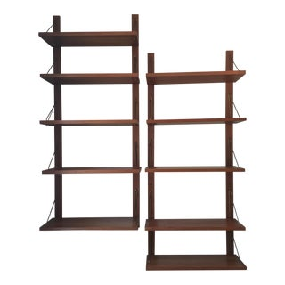 Mid Century Danish Teak Adjustable Wall Shelving Units - a Pair