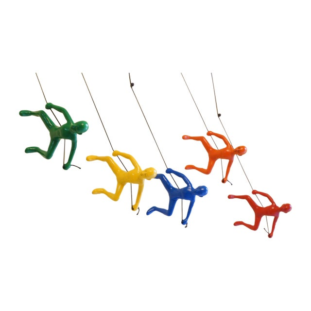Image of Multi-Colored Climbing Man Wall Art - Set of 5