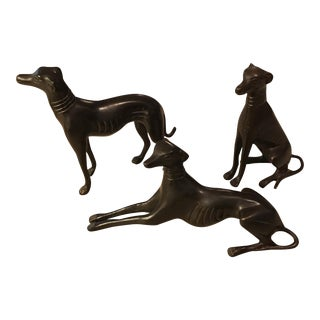 Greyhound Whippet Bronze Figurines - Set of 3