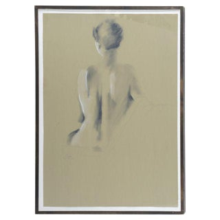 Signed Female Nude Drawing
