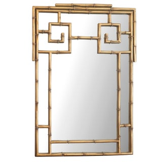 1970s Gold Bamboo Chinoiserie Wall Mirror