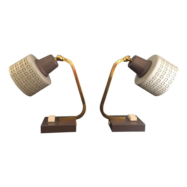 Mid-Century Bedside Table Lamps - A Pair - Image 1 of 7
