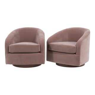 A Pair of Swivel Velvet Upholstered Armchairs 1970s