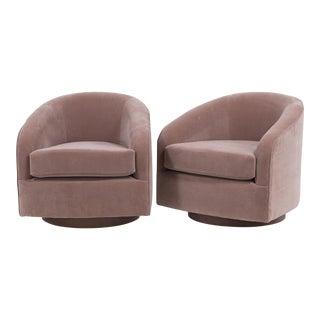 A Pair of Swivel Velvet Upholstered Armchairs 1970s