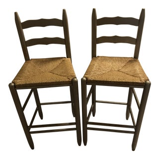 Ladder French Country Bar Height Vintage Seats - A Pair