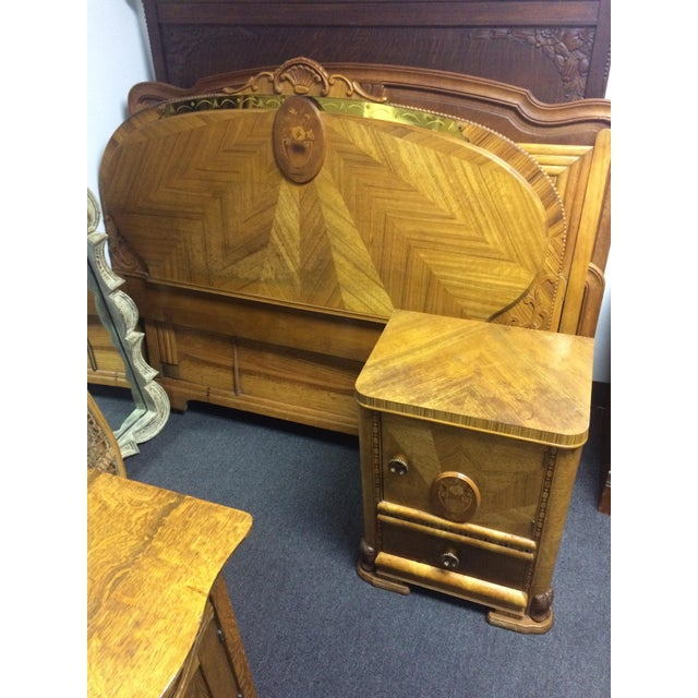 Antique Hand-Carved Inlay Nightstand - Image 4 of 6