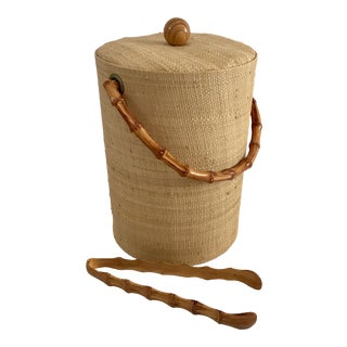 Vintage Grasscloth Ice Bucket With Faux Bamboo Tongs - A Pair