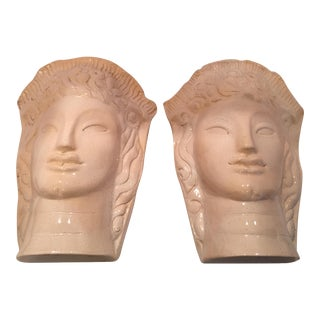Art Deco-Style Female Wall Pockets - A Pair