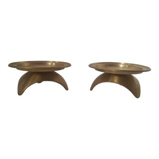 Set of 2- Mid Century Atomic Brass Tripod Pillar Candle Holders