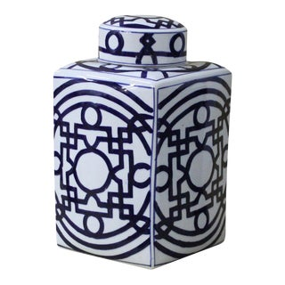 Sarreid Ltd. Transitional Blue & White Porcelain Jar