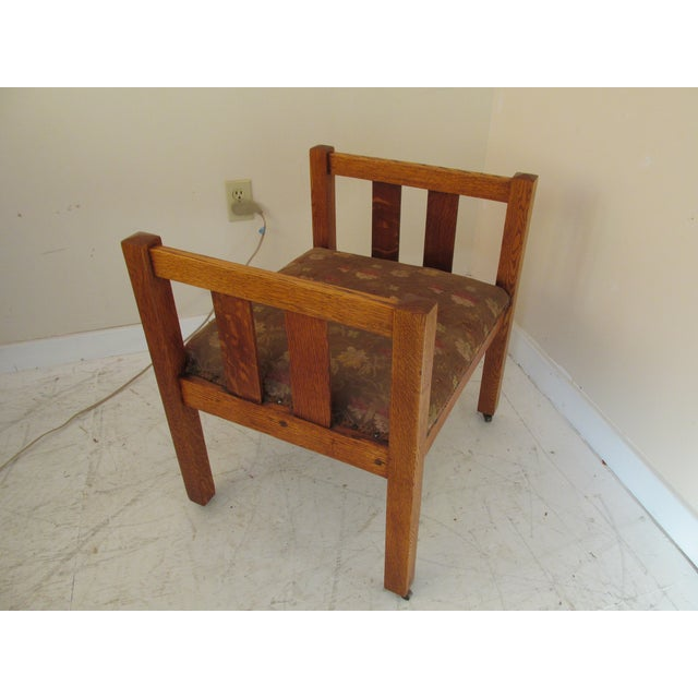 Image of Antique Mission Style Brown Oak Bench