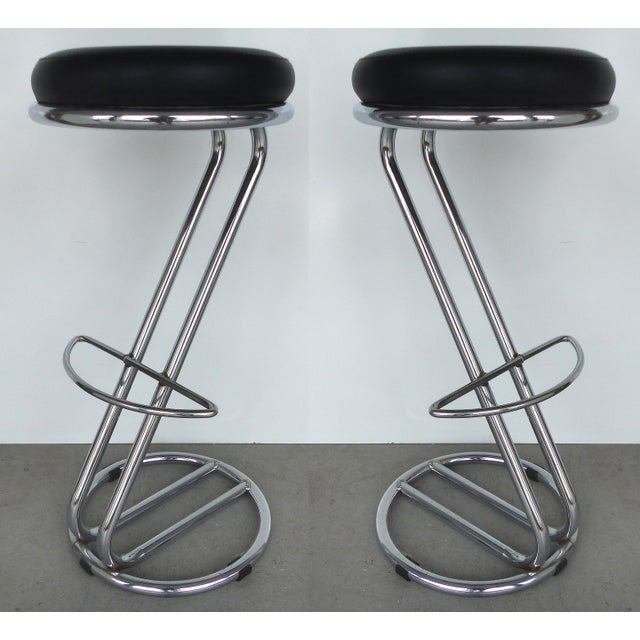 Italian Mid-Century Modern Chrome Bar Stools -- A Pair - Image 2 of 9