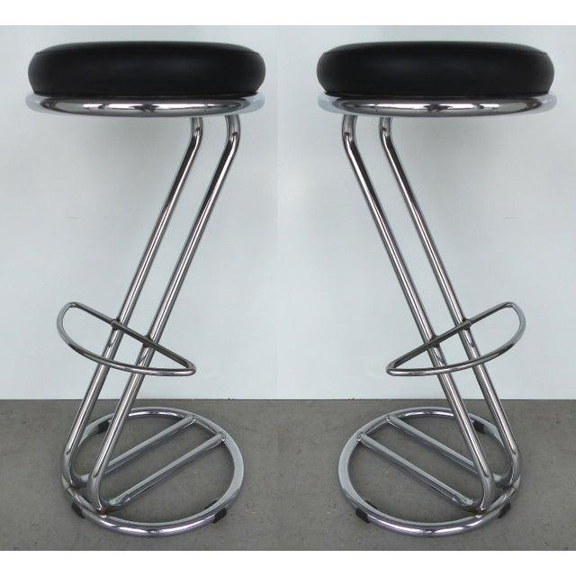 Image of Italian Mid-Century Modern Chrome Bar Stools - a Pair