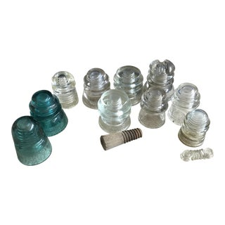 Aqua & Clear Glass Telephone Insulator - 12 Pieces