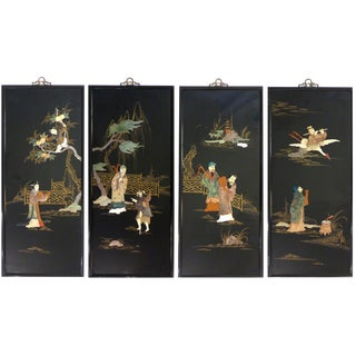 Bone & Mother of Pearl Asian Panels - Set of 4