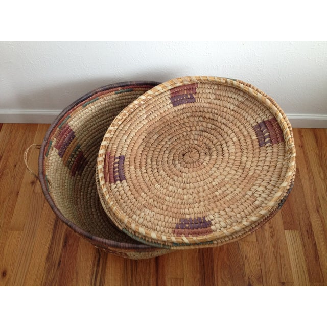 Large Hand Woven African Basket - Image 5 of 7