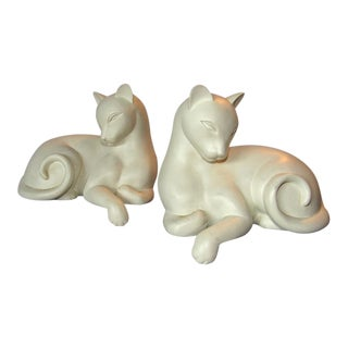 Mid-Century Mod Retro Crowning Touch Cat Bookends - A Pair