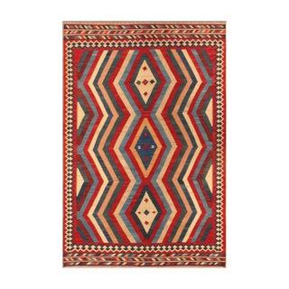 Apadana - Red & Blue Zig Zag,  6 x 9 Vintage Kilim