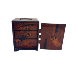 Antique Japanese Marquetry Chest Mini Inlaid Tansu Asian Trinket Box