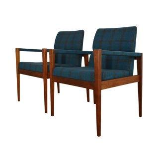 Jens Risom Danish Modern Plaid Lounge Chairs- Pair
