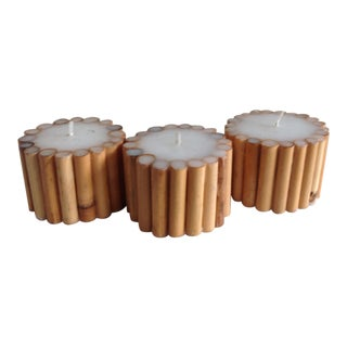 Boho Bamboo Pillar Candles - Set of 3