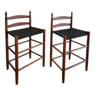 Mid Century Black Webbing Woven Seat Counter Stools - Pair