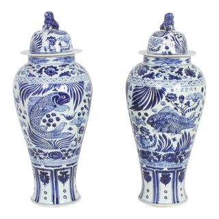 Large Pair of Chinese Export Style Lidded Temple Jars
