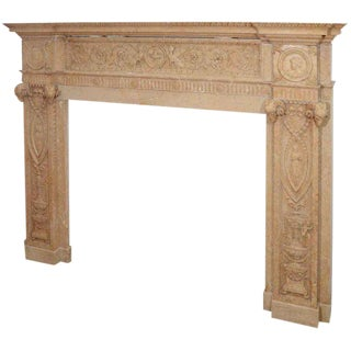 Edwardian Carved Sienna Marble Mantel