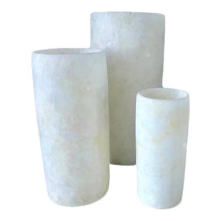 Natural Stone Candle Holders/Hurricanes/Vases - Set of 3