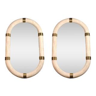 Pair of Stone Veneered Racetrack Mirrors by Maitland-Smith, Ltd.