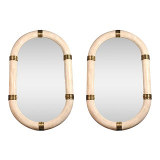 Pair of Stone Veneered Racetrack Mirrors by Maitland-Smith, Ltd.
