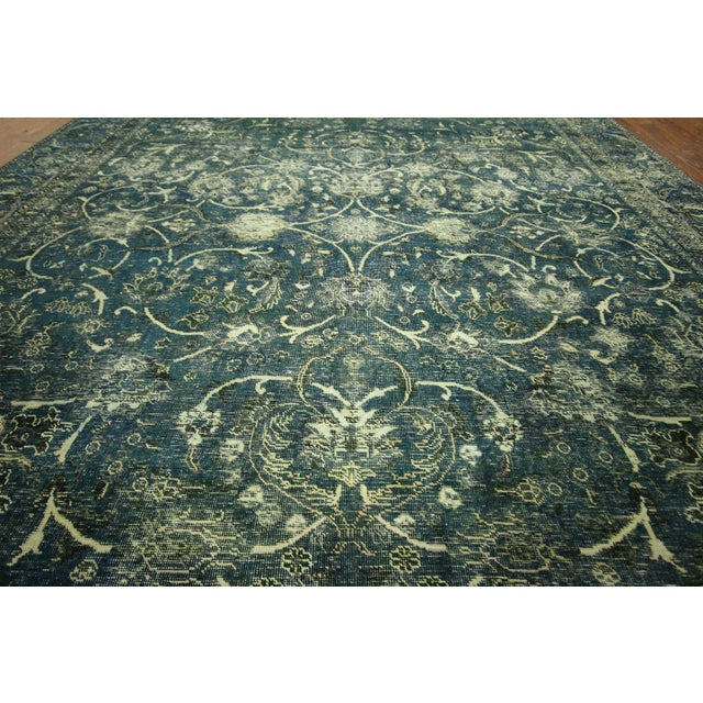 """Oriental Overdyed Tabriz Floral Rug - 9'2"""" x 10'2 - Image 7 of 11"""