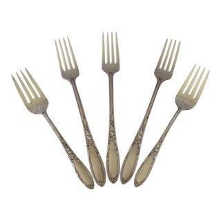 1930's Floral Silver Forks - Set of 5