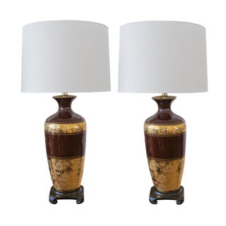 Pair of American Chocolate-Brown Ceramic Lamps w/Gilt Decoration