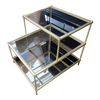 West Elm 2-Tiered Glass Mirror& Brass Side Table