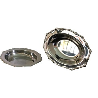 Bamboo Edged Stainless Serving Bowls - A Pair