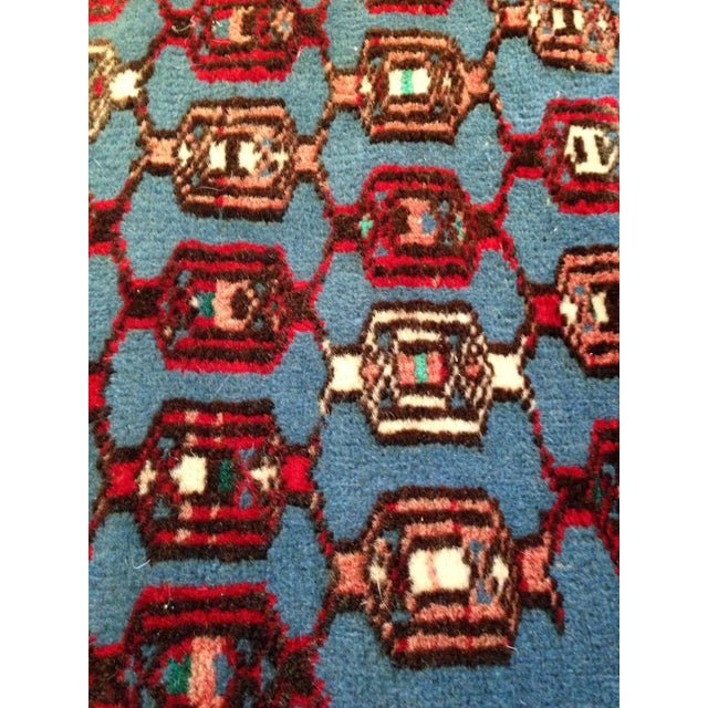 """Antique Blue/Red Persian Tribal Rug - 4'8"""" X 6'5"""" - Image 9 of 9"""