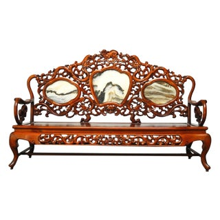 Chinese Rosewood Marble Dali Carved Sofa Bench