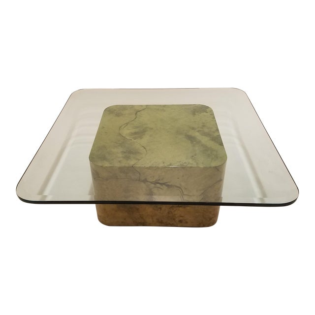 Karl Springer Style Green Parchment and Glass Coffee Table - Image 1 of 6