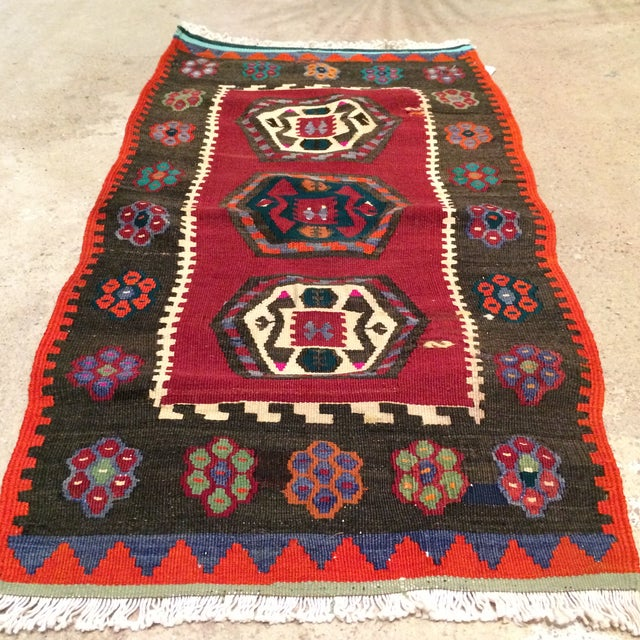 "Vintage Turkish Anatolian Kilim - 1'9"" X 3'5"" - Image 4 of 5"