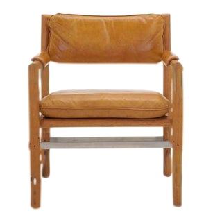 Leather, Mahogany and Steel Armchair by Edward Wormley for Dunbar