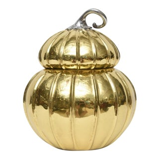 Italian Gourd-Shaped Pewter and Brass Ice Bucket