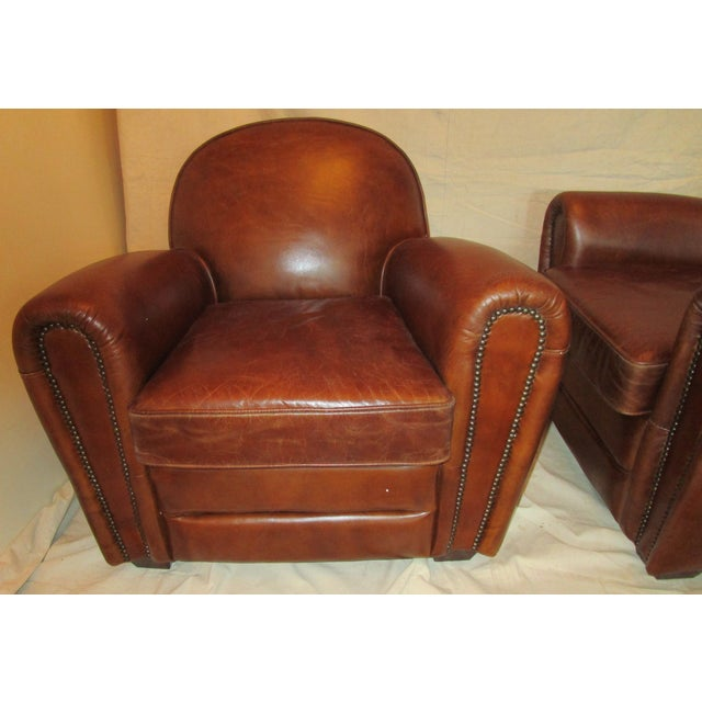 Leather Club Chairs - Pair - Image 3 of 5